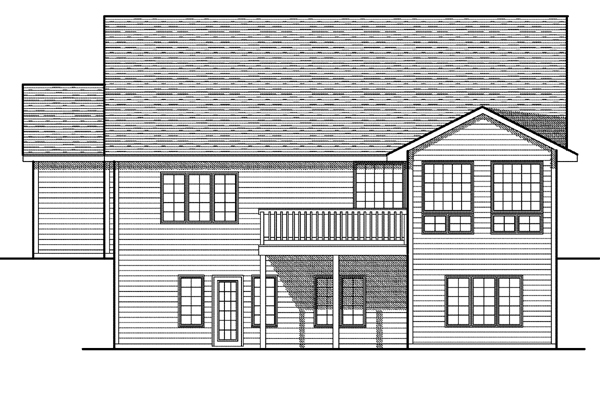 Rear Elevation of House Plan 73083
