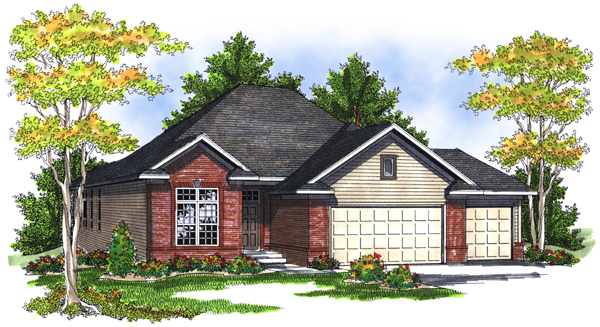 One-Story House Plan 73085 with 4 Beds, 3 Baths, 3 Car Garage Elevation