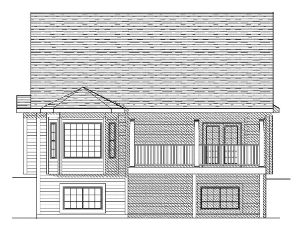 Traditional House Plan 73117 with 3 Beds, 3 Baths, 2 Car Garage Rear Elevation