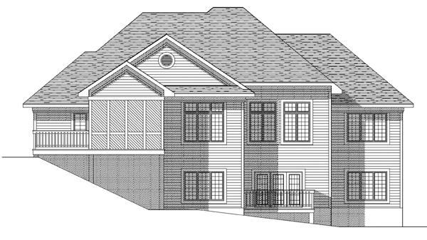 European House Plan 73123 Rear Elevation