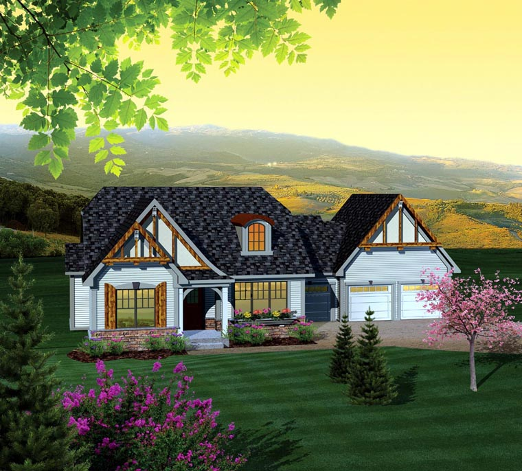 Ranch House Plan 73127 with 2 Beds, 2 Baths, 3 Car Garage Elevation