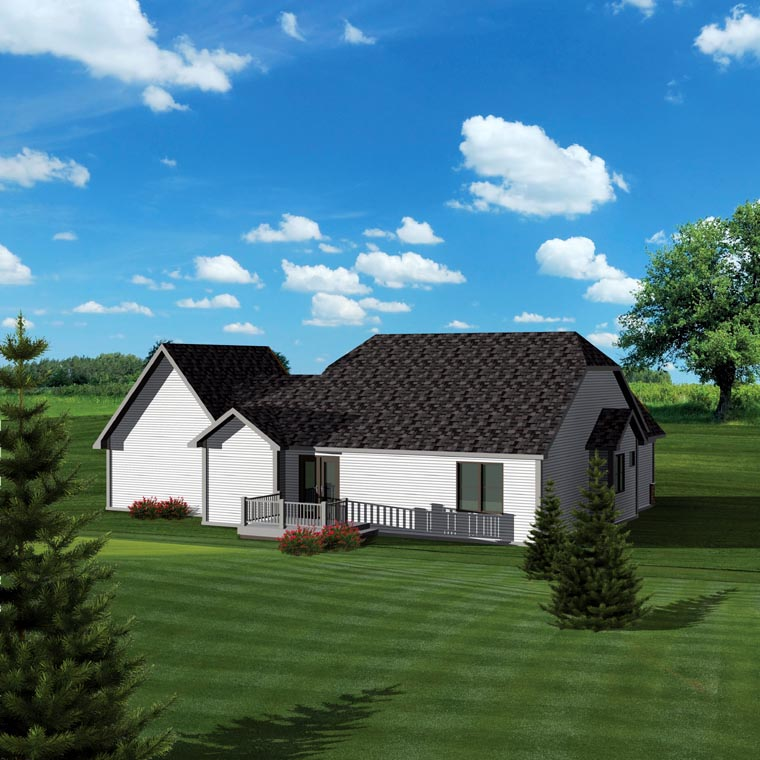 Ranch House Plan 73127 with 2 Beds, 2 Baths, 3 Car Garage Rear Elevation
