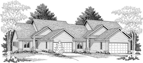 Traditional Multi-Family Plan 73128 Elevation