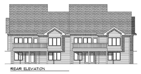 Traditional Multi-Family Plan 73128 Rear Elevation