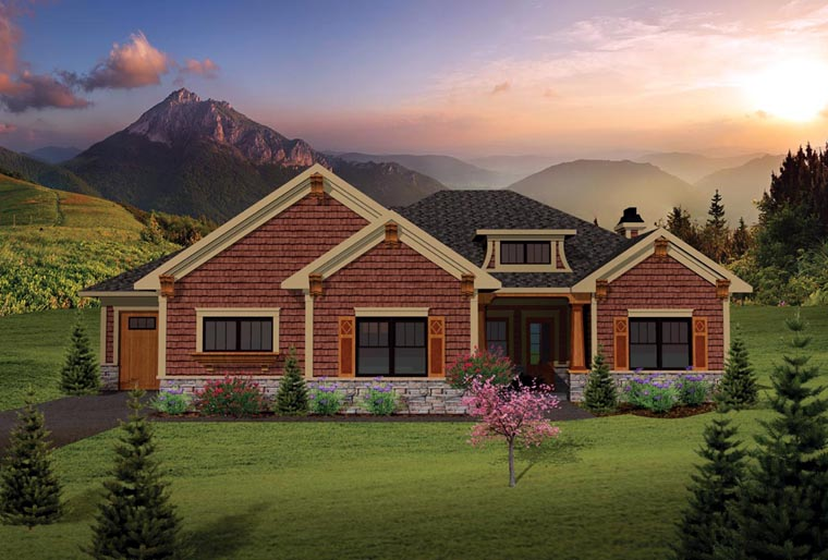House plan 73137 at family home plans for Craftsman home elevations