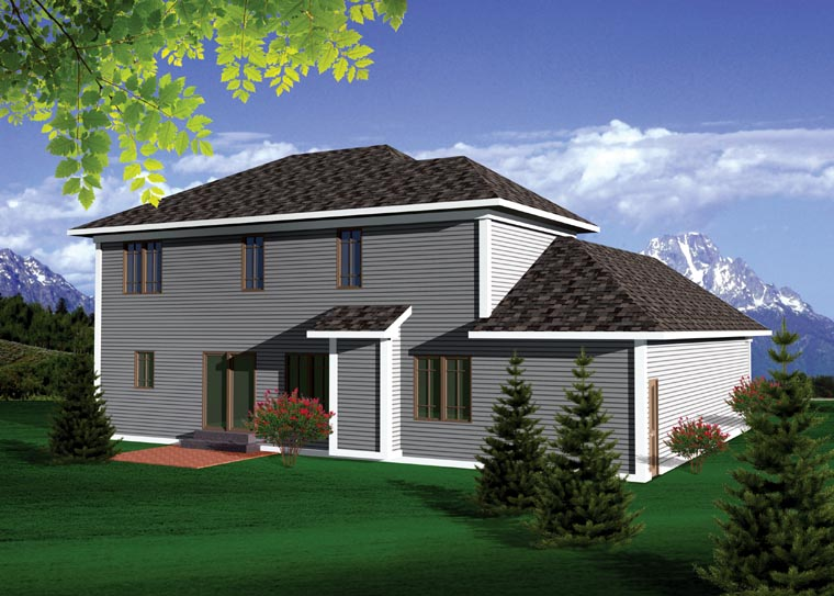 Prairie Style Traditional House Plan 73144 Rear Elevation
