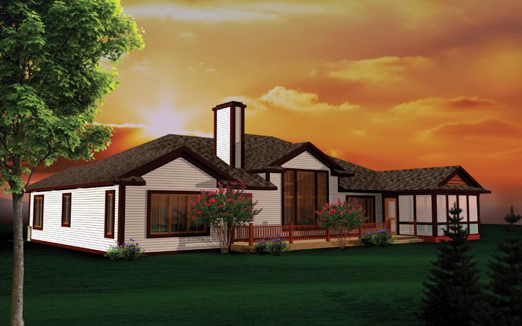 Craftsman Ranch Traditional House Plan 73147 Rear Elevation
