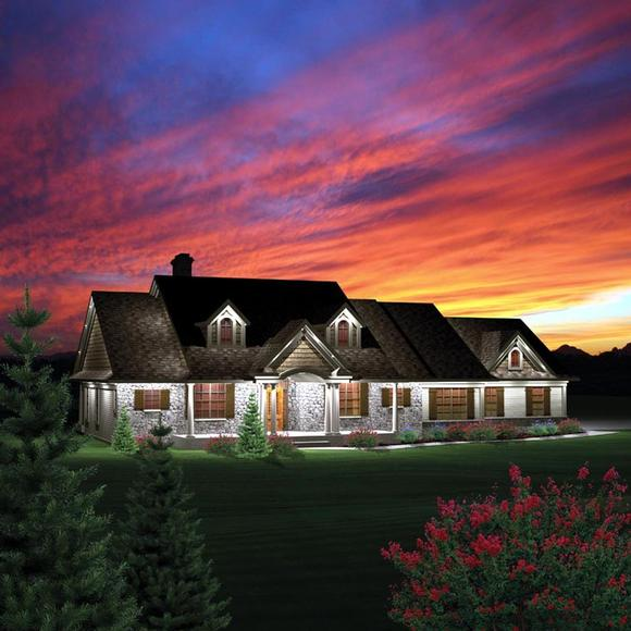 Ranch House Plan 73152 with 3 Beds, 2 Baths, 3 Car Garage Elevation