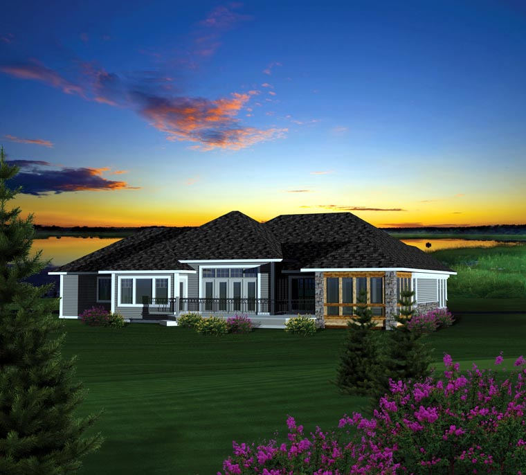 Ranch House Plan 73153 with 2 Beds, 2 Baths, 2 Car Garage Rear Elevation