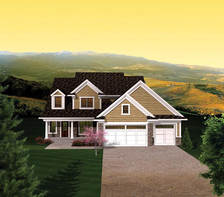 House Plan 73155 with 4 Beds, 3 Baths, 3 Car Garage Elevation
