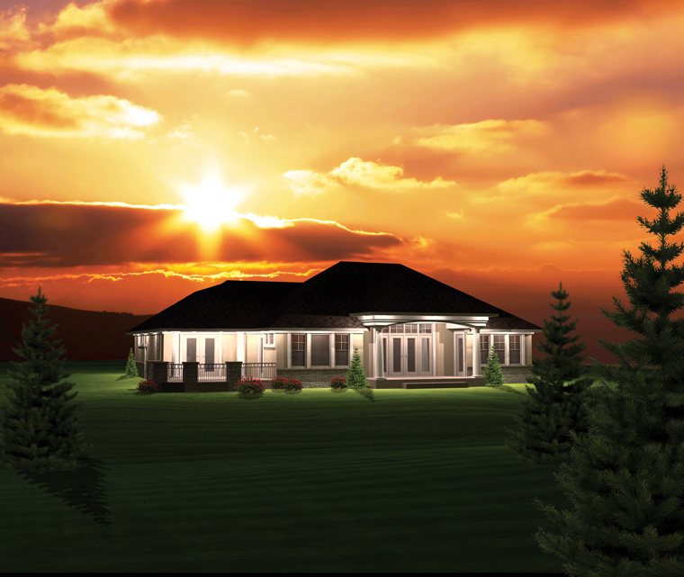 Ranch House Plan 73156 with 2 Beds, 2 Baths, 2 Car Garage Rear Elevation