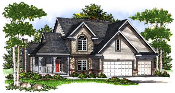 European House Plan 73194 with 4 Beds, 3 Baths, 3 Car Garage Elevation