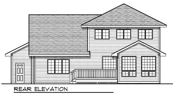 Country, Traditional House Plan 73199 with 4 Beds, 3 Baths, 3 Car Garage Rear Elevation