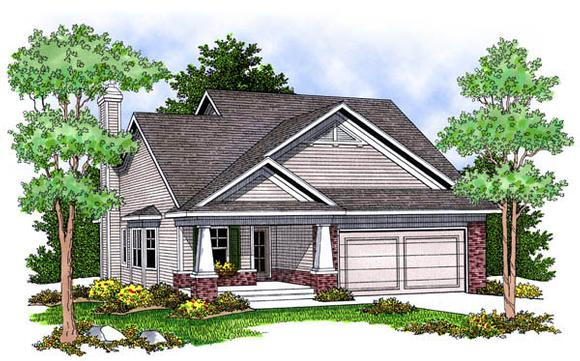 Bungalow, Country, One-Story House Plan 73228 with 2 Beds, 2 Baths, 2 Car Garage Elevation