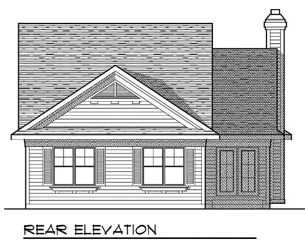 Bungalow, Country, One-Story House Plan 73228 with 2 Beds, 2 Baths, 2 Car Garage Rear Elevation