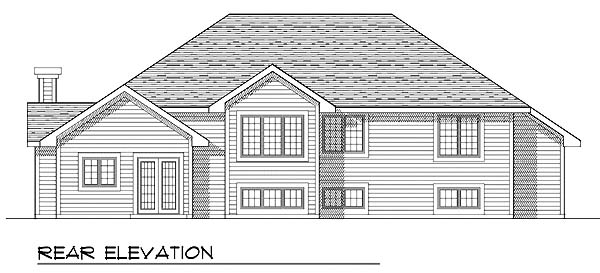 Traditional House Plan 73269 with 3 Beds, 3 Baths, 3 Car Garage Rear Elevation