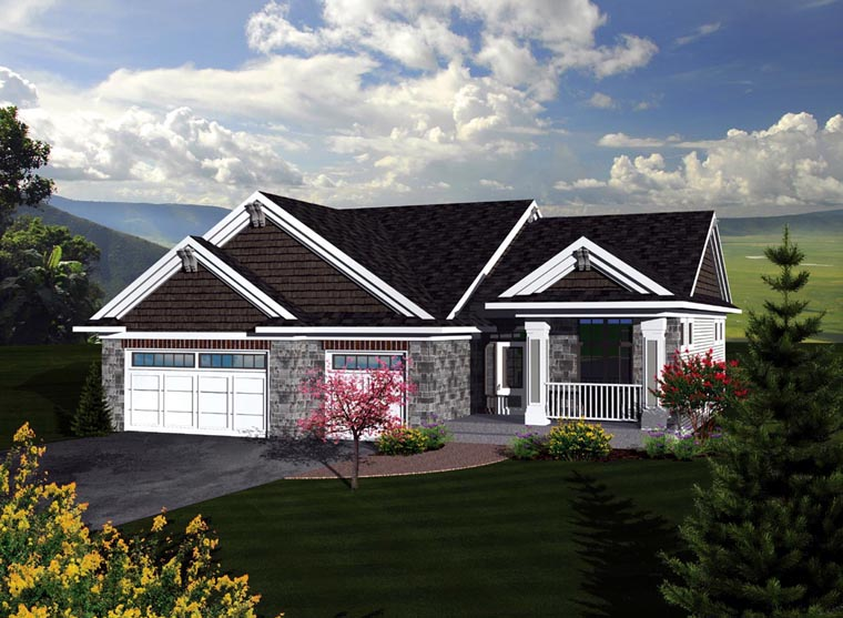 Craftsman, Traditional House Plan 73293 with 3 Beds, 2 Baths, 3 Car Garage Elevation