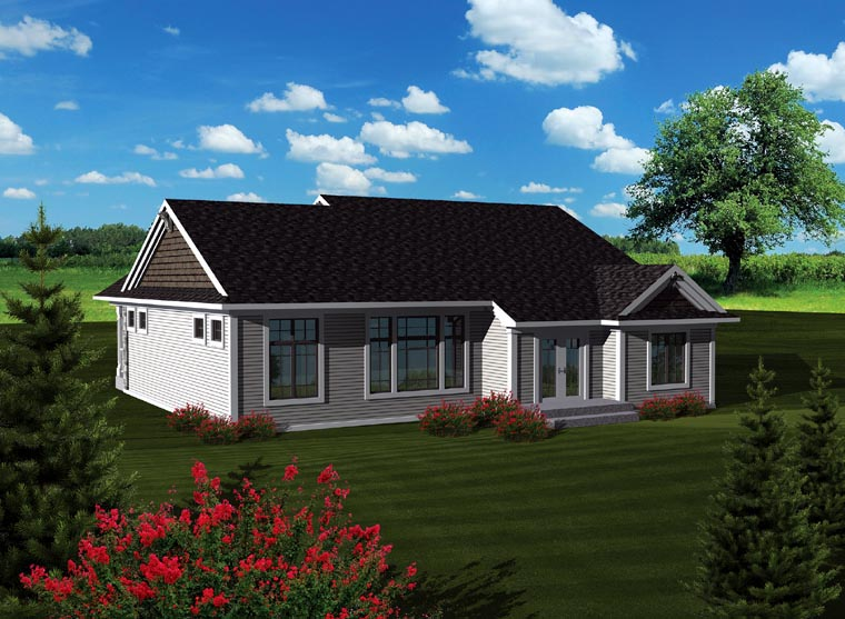 Craftsman, Traditional House Plan 73293 with 3 Beds, 2 Baths, 3 Car Garage Rear Elevation