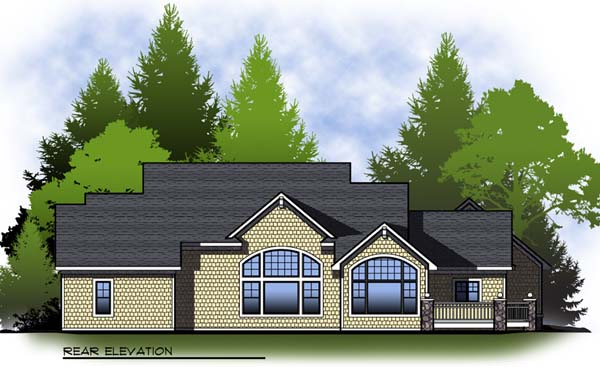 Country, Craftsman, One-Story, Ranch House Plan 73312 with 2 Beds, 3 Baths, 3 Car Garage Rear Elevation