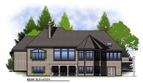 European Tudor House Plan 73329 Rear Elevation