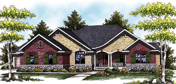 One-Story, Traditional House Plan 73331 with 2 Beds, 2 Baths, 3 Car Garage Elevation