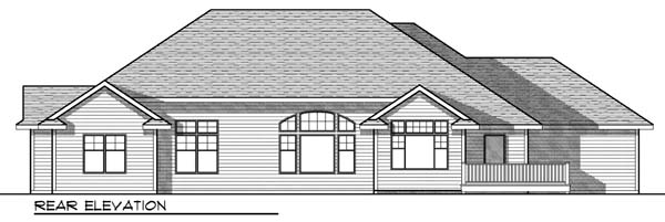 One-Story, Traditional House Plan 73331 with 2 Beds, 2 Baths, 3 Car Garage Rear Elevation