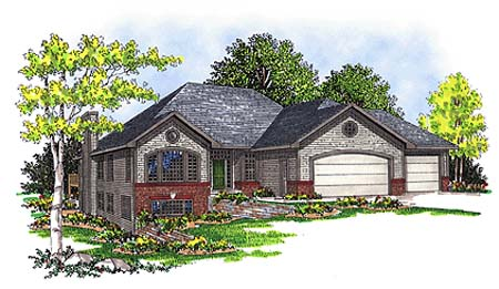 One-Story, Traditional House Plan 73341 with 3 Beds, 2 Baths, 3 Car Garage Elevation