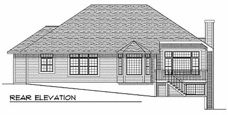 One-Story, Traditional House Plan 73341 with 3 Beds, 2 Baths, 3 Car Garage Rear Elevation