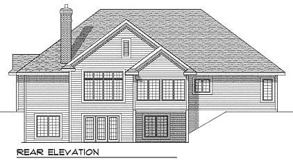 European Traditional House Plan 73346 Rear Elevation