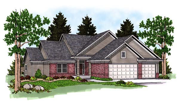 One-Story, Traditional House Plan 73371 with 3 Beds, 3 Baths, 3 Car Garage Elevation