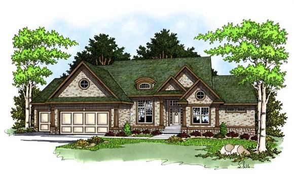 One-Story, Traditional House Plan 73372 with 2 Beds, 2 Baths, 3 Car Garage Elevation