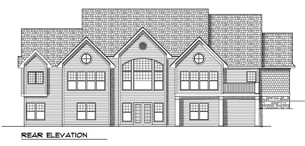 One-Story, Traditional House Plan 73372 with 2 Beds, 2 Baths, 3 Car Garage Rear Elevation