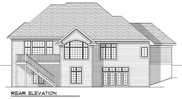 One-Story, Tudor House Plan 73387 with 2 Beds, 2 Baths, 2 Car Garage Rear Elevation