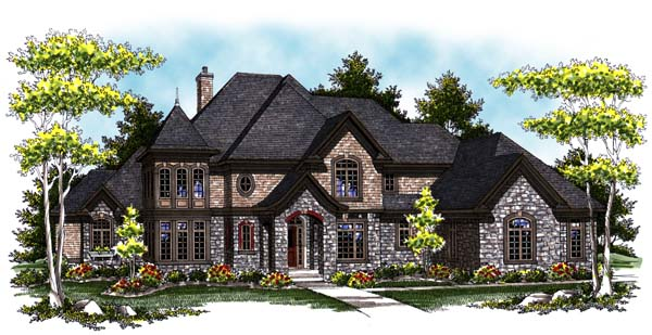 European, Tudor House Plan 73406 with 4 Beds, 5 Baths, 3 Car Garage Elevation