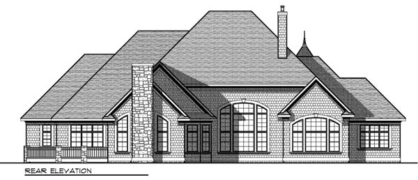 European, Tudor House Plan 73406 with 4 Beds, 5 Baths, 3 Car Garage Rear Elevation