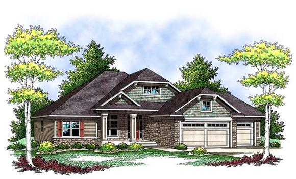 Craftsman, One-Story, Traditional House Plan 73420 with 3 Beds, 2 Baths, 3 Car Garage Elevation