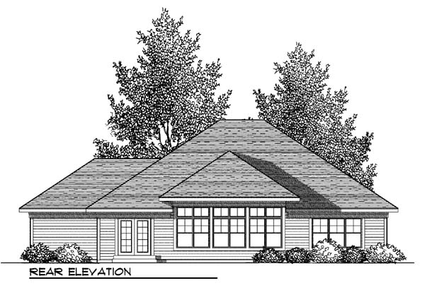 Craftsman, One-Story, Traditional House Plan 73420 with 3 Beds, 2 Baths, 3 Car Garage Rear Elevation