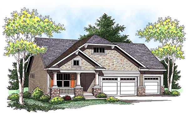 Craftsman House Plan 73426 with 3 Beds, 2 Baths, 3 Car Garage Elevation