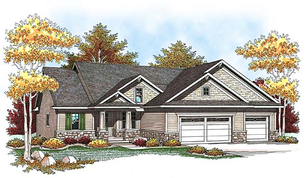One-Story, Traditional House Plan 73438 with 2 Beds, 2 Baths, 3 Car Garage Elevation