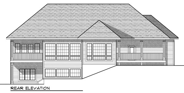 Traditional, Tudor House Plan 73448 with 3 Beds, 3 Baths, 3 Car Garage Rear Elevation