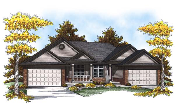 Traditional Multi-Family Plan 73451 Elevation