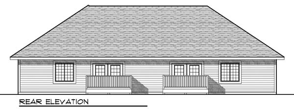 Traditional Multi-Family Plan 73451 Rear Elevation