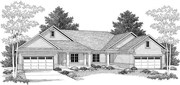 Traditional Multi-Family Plan 73476 with 6 Beds, 4 Baths, 4 Car Garage Elevation