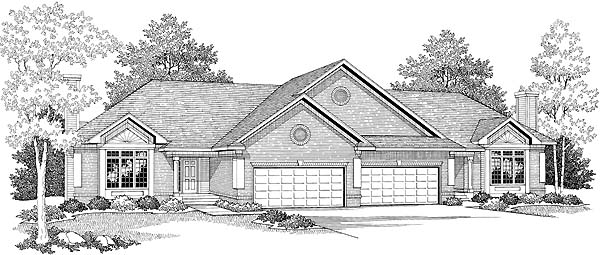 Traditional Multi-Family Plan 73477 with 4 Beds, 4 Baths, 4 Car Garage Elevation
