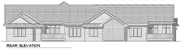Ranch Multi-Family Plan 73483 Rear Elevation