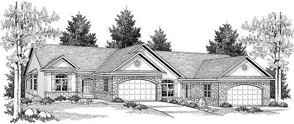 Ranch Multi-Family Plan 73488 with 6 Beds, 6 Baths, 4 Car Garage Elevation