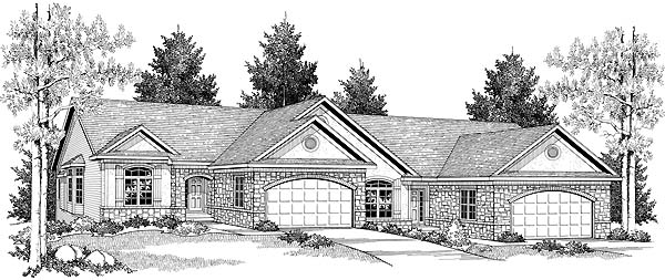 Ranch Multi-Family Plan 73488 Elevation