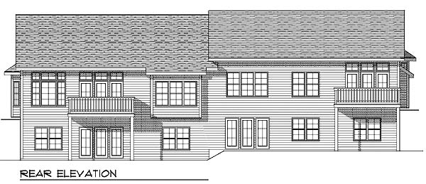Ranch Multi-Family Plan 73488 with 6 Beds, 6 Baths, 4 Car Garage Rear Elevation