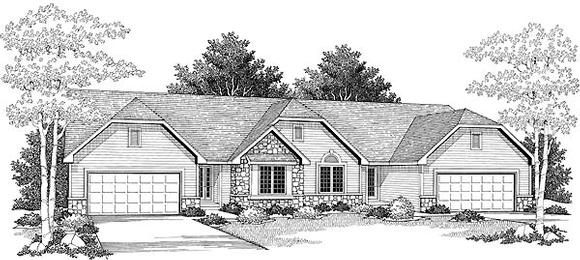 Ranch Multi-Family Plan 73490 with 4 Beds, 4 Baths, 4 Car Garage Elevation