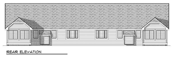 Ranch Multi-Family Plan 73490 with 4 Beds, 4 Baths, 4 Car Garage Rear Elevation